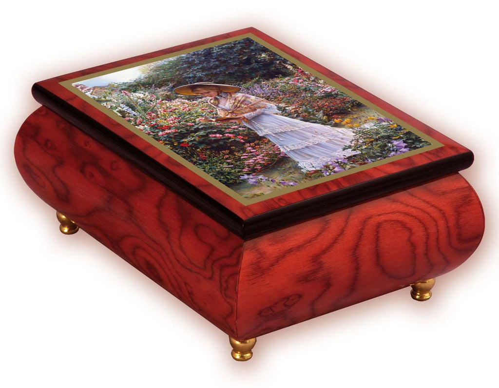 """Quiet Garden"" Italian Inlaid Wood Music Box – Sandra Kuck"