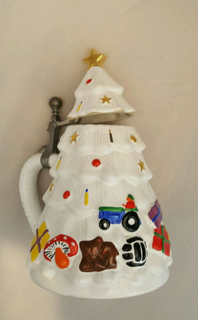 White Christmas Tree Stein