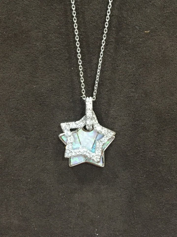 Sterling Silver with White Opal & CZ Star Necklace