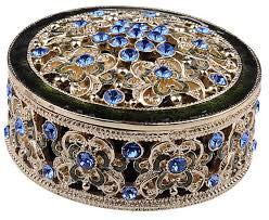 Jeweled Round Box-Blue