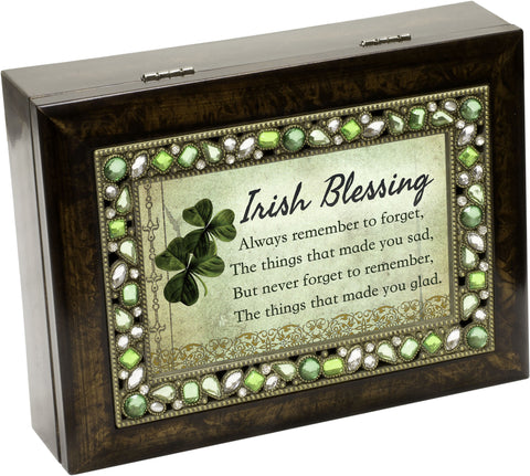 Irish Blessing Jeweled Wooden Music Box