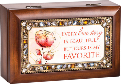 Every Love Story Jeweled Wooden Music Box
