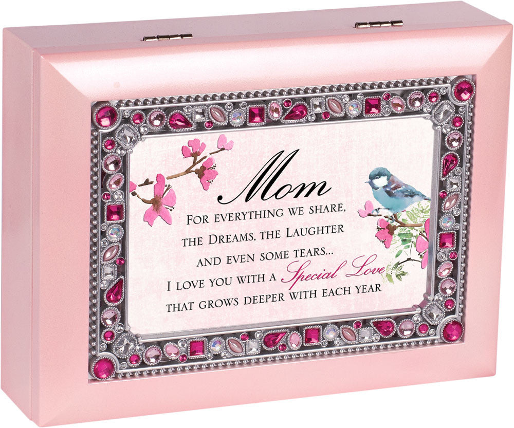 Mom For Everything Jeweled Wooden Music Box