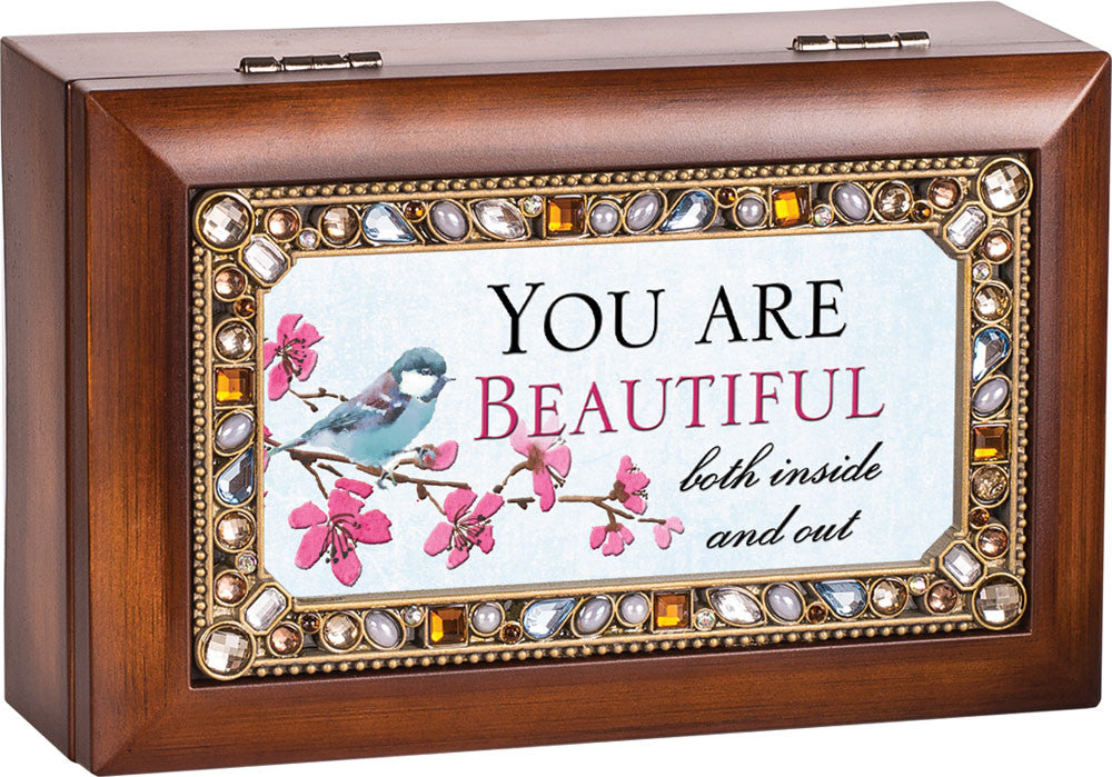 You Are Beautiful Jeweled Wooden Music Box