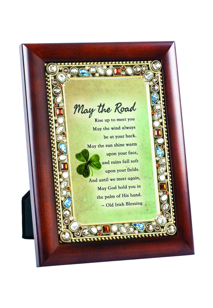 May The Road Jeweled Wood Frame
