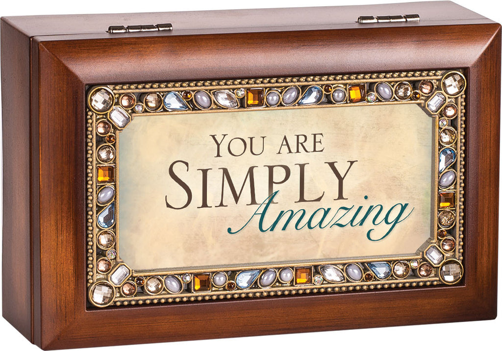 You Are Simply Amazing Jeweled Wooden Music Box
