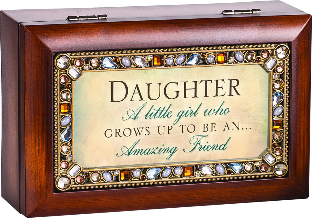 Daughter A Little Girl Jeweled Wooden Music Box