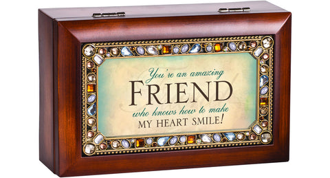 Friend Jeweled Wooden Music Box
