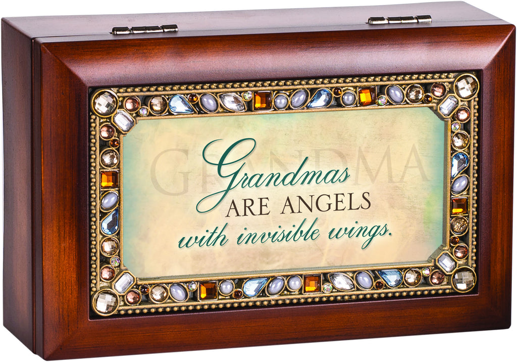 Grandmas Are Angels Jeweled Wooden Music Box