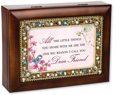 Dear Friend Jeweled Wooden Music Box