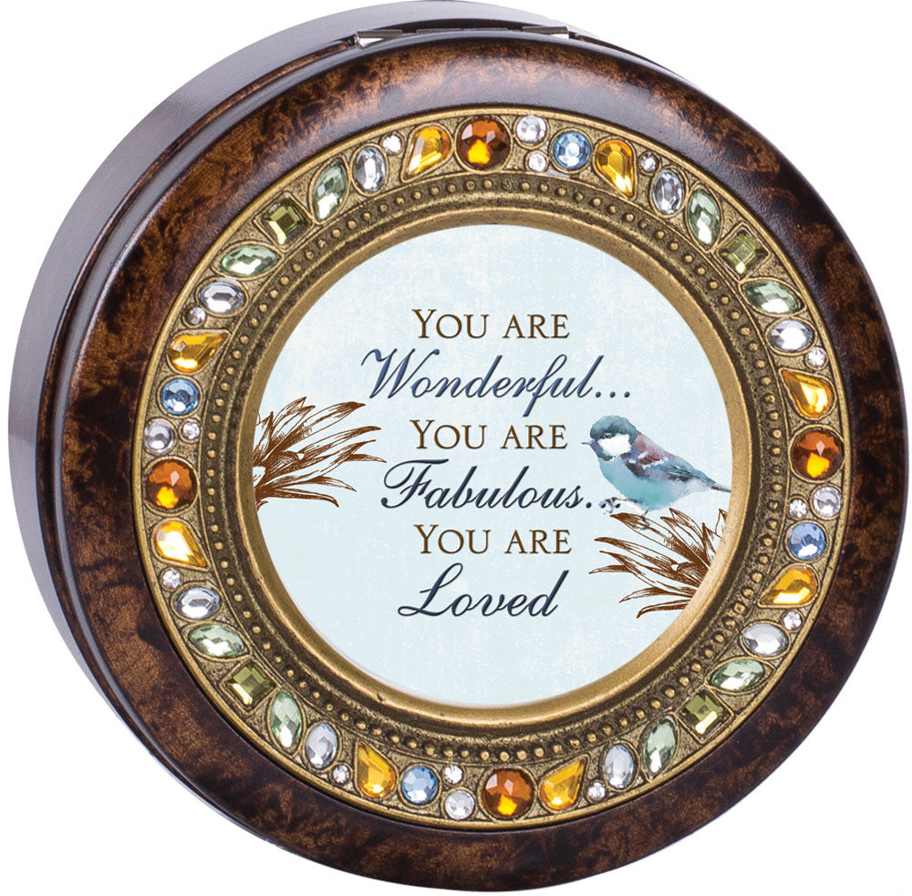 You Are Beautiful Round Jeweled Wooden Music Box