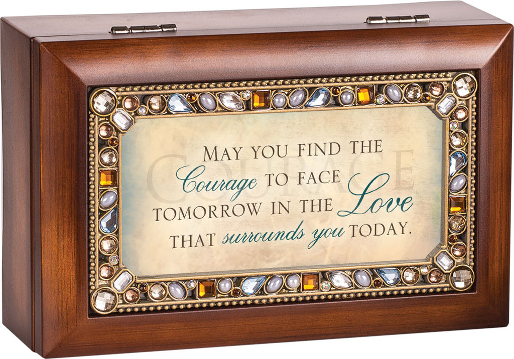 May You Find The Courage Jeweled Wooden Music Box