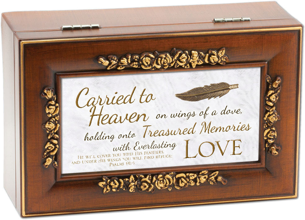 Carried To Heaven Decorative Scroll Wooden Music Box
