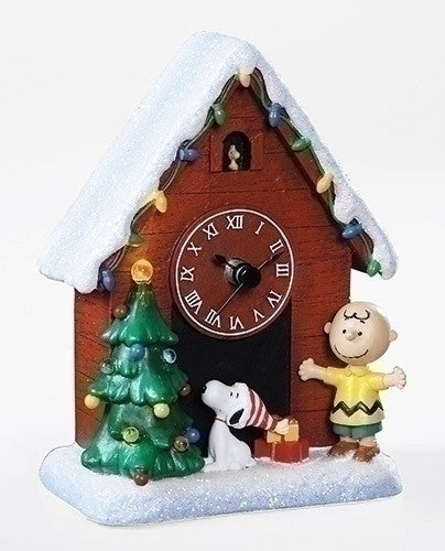 "MUSICAL 6""LED SNOOPY CLOCK CB/WS"