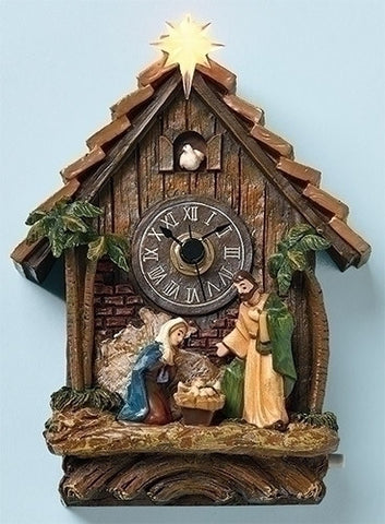 "MUSICAL 5.75"" LED NATIVITY CLOCK"