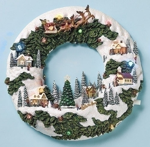 "MUSICAL 11.75"" LED WREATH SCENE"