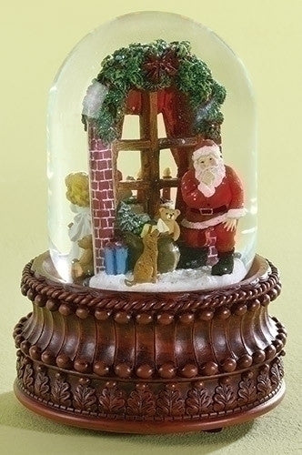 "8"" MUSICAL REV DOME SANTA/WINDOW"