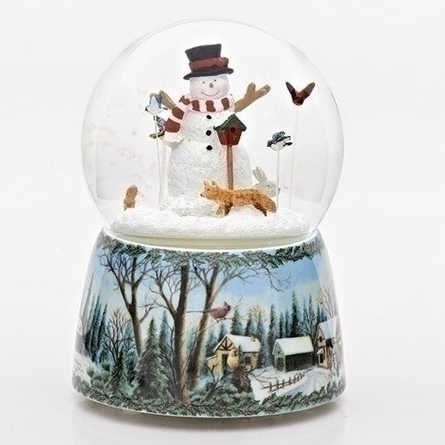 "MUSICAL 5.5"" SNOWMAN W/BIRDS DOME"