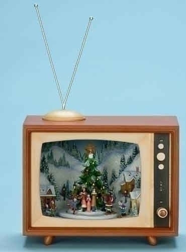"8.75H"" MUSICAL TV BOX CAROL/TREE"