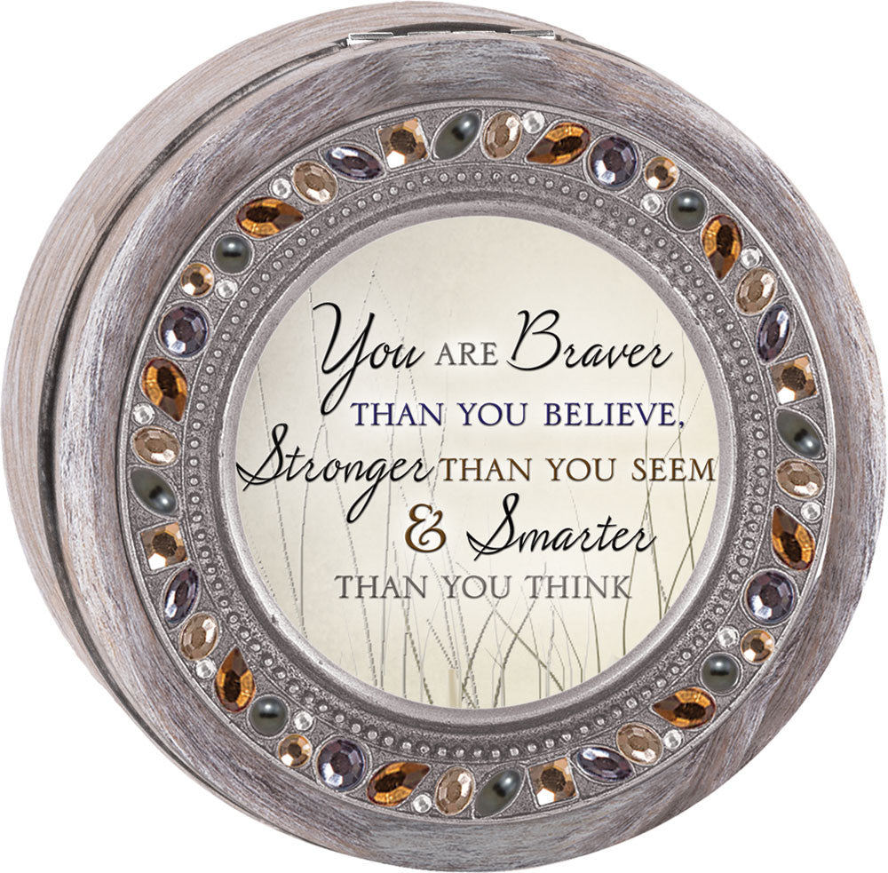 You Are Braver Round Jeweled Wooden Music Box