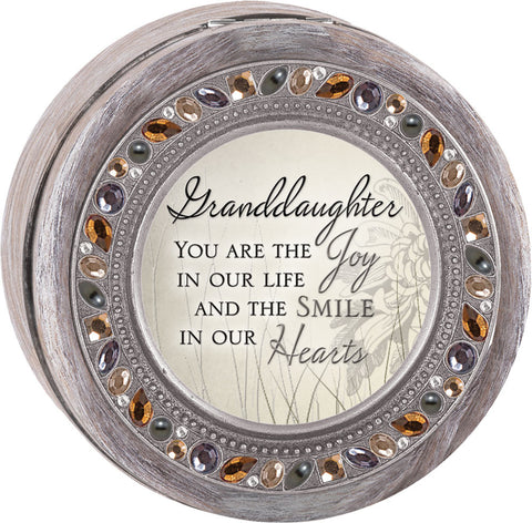 Granddaughter Round Jeweled Wooden Music Box