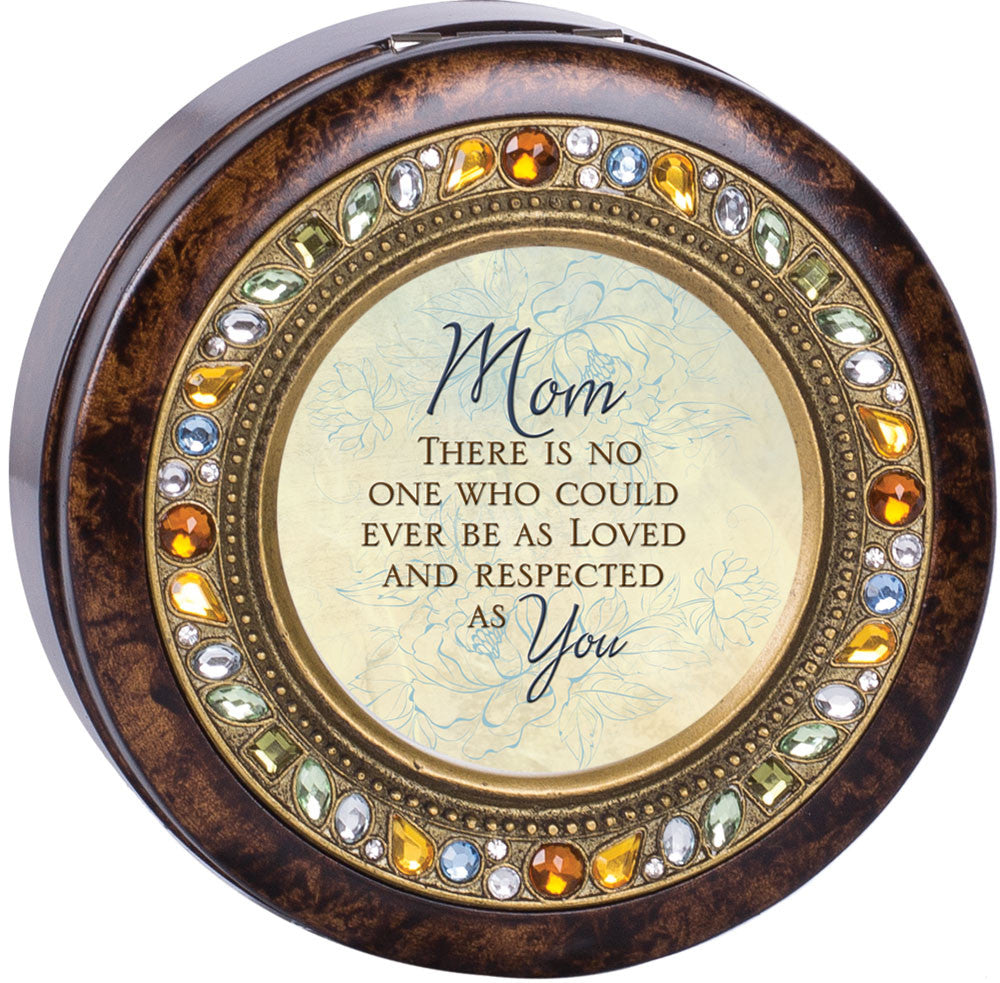 Mom There Is No One Round Jeweled Wooden Music Box