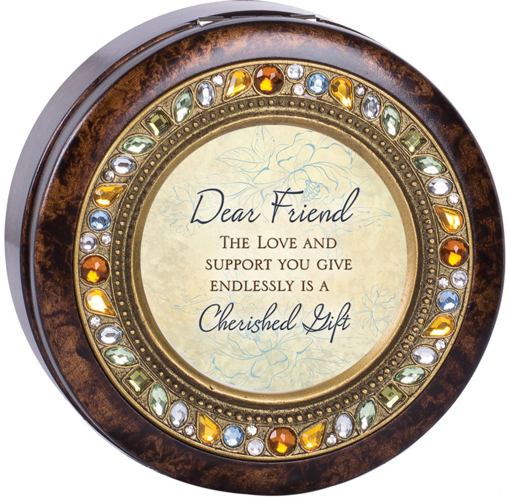 Dear Friend Round Jeweled Wooden Music Box