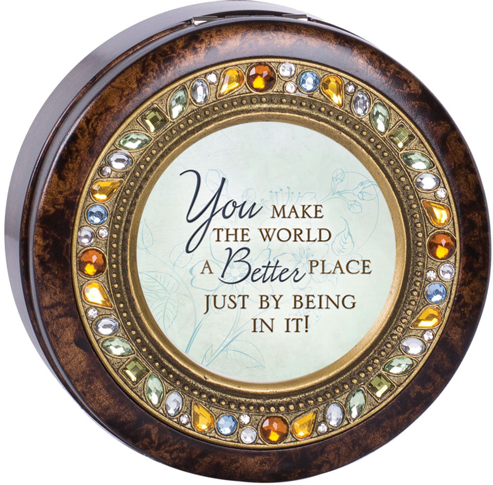 You Make The World Round Jeweled Wooden Music Box