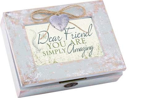 Dear Friend Distressed Wood Locket Box