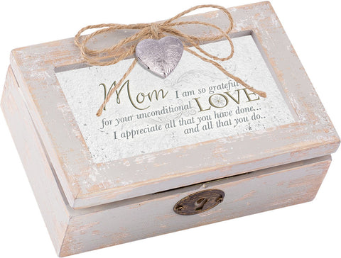 Mom I Am Petite Distressed Wood Locket Box