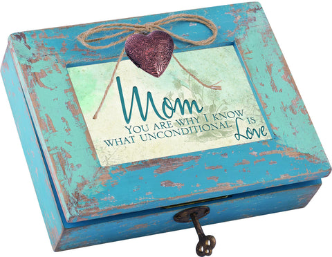 Mom Distressed Wood Locket Box