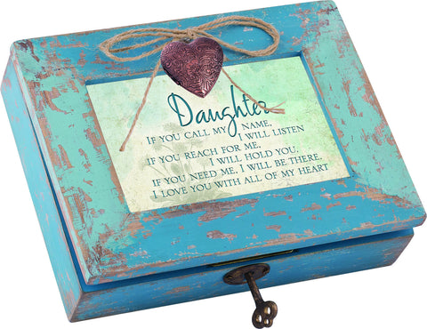 Daughter Distressed Wood Locket Box