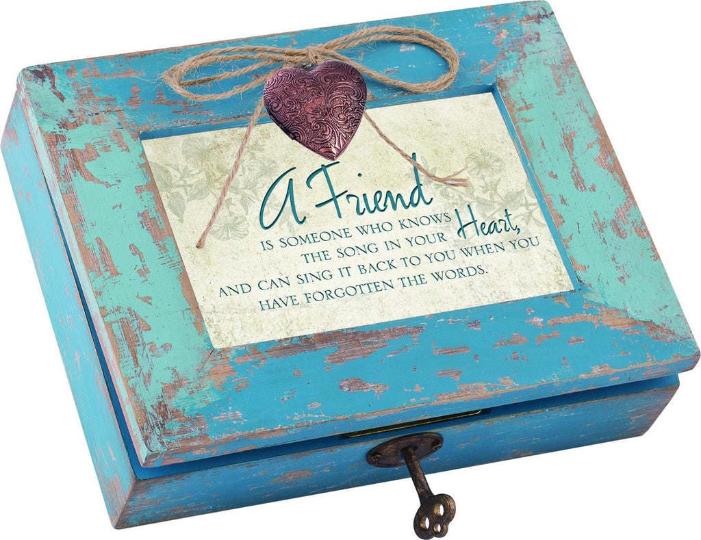 A Friend Distressed Wood Locket Box