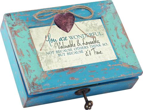 You Are Wonderful Distressed Wood Locket Box