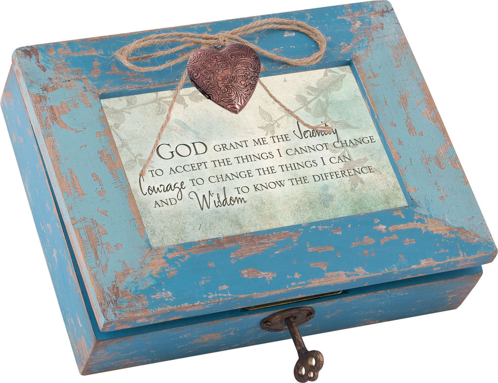 God Grant Me Distressed Wood Locket Box