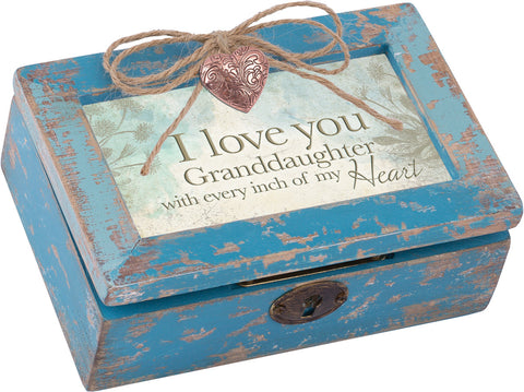 I Love You Petite Distressed Wood Locket Box