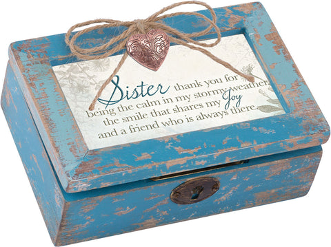 Sister Petite Distressed Wood Locket Box