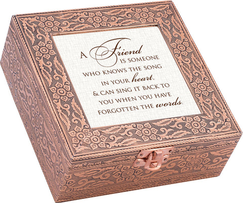 """A Friend Is"" Copper Embossed Music Box"