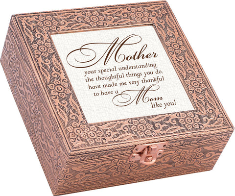 """Mother...Your Special Understanding"" Copper Embossed Music Box"