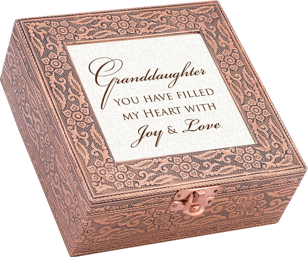 """Granddaughter...Joy And Love"" Copper Embossed Music Box"