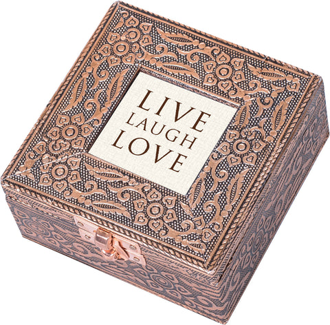 """Live Laugh Love"" Copper Embossed Jewelry Box"