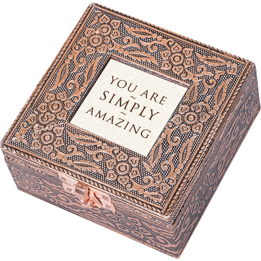"""You Are Simply Amazing"" Copper Embossed Jewelry Box"