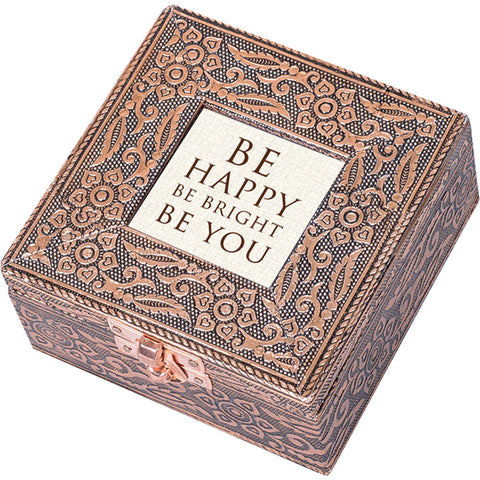 """Be Happy"" Copper Embossed Jewelry Box"