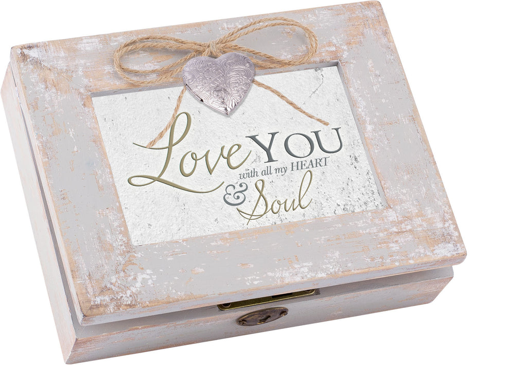 Love You Distressed Wood Locket Box