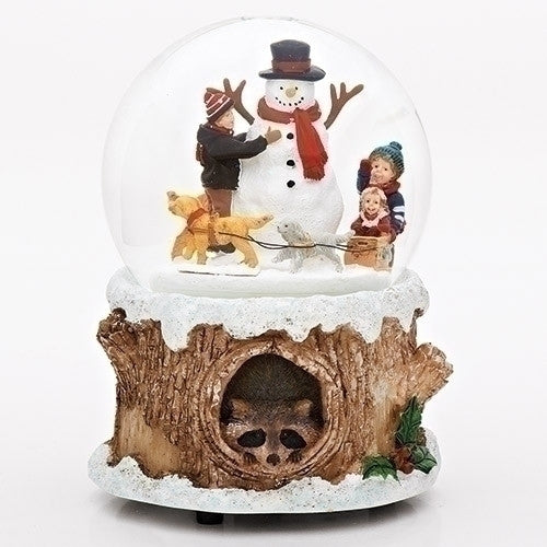 Musical Glitterdome with Kids, Dogs & Sled around Snowman (Racoon Base)