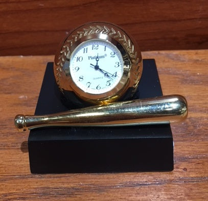 BASEBALL with Stand Clock (Gold with Black Stand)