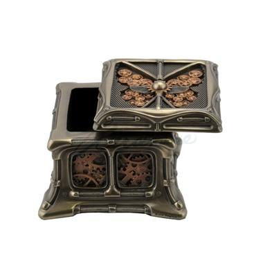 Steampunk Butterfly and Gears Trinket Box