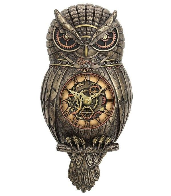Steampunk Owl Pendulum Wall Clock