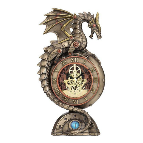 Steampunk Dragon Perching On Clock