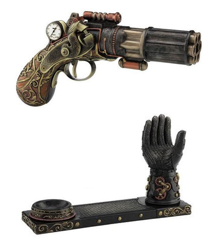 Steampunk 6 Barrel Pistol with Gauntlet Display Stand